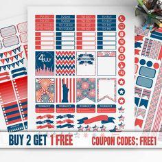 Patriotic, 4th of July, Printable Planner Stickers, Erin Condren Sticker, Monthly/Weekly Kit, Printable Sampler, Erin Condren kit, Eclp