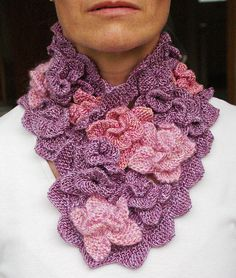 Flowerscarf designed by Nicky Epstein for Vogue Knitting 25th anniversary issue.