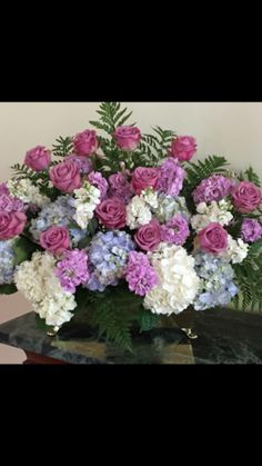 Stock and hydrangea flower arrangement