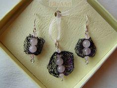 ROSE VIOLET FAIRIES silver earrings and pendant by LanAArt