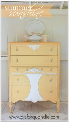Adorable yellow painted dresser