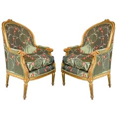 Pair of French Louis XVI Style Bergere Chairs by Jansen | From a unique collection of antique and modern armchairs at https://www.1stdibs.com/furniture/seating/armchairs/