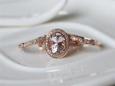 Morganite Ring Set7x9mm Pink Morganite 14K Rose Gold by ByLaris