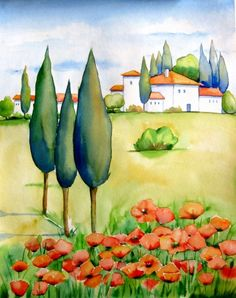 """Spring Poppies Tuscany""© Meltem Kilic, painting by artist Meltem Kilic"