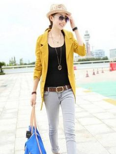 Trendy Woolen Women Button Detail Blazer Jacket Yellow on BuyTrends.com, only price $21.67