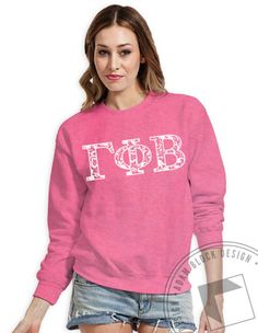 Gamma Phi Beta - Pattern Letter Pullover Sweatshirt (Safety Pink) by ABD BlockBuy! Available until 10/28, $15-$20 Adam Block Design | Custom Greek Apparel & Sorority Clothes |www.adamblockdesign.com