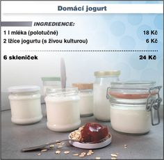 Levně a chutně s Ladislavem Hruškou - Domácí jogurt How To Make Cheese, Keto Bread, Kitchen Hacks, Glass Of Milk, Panna Cotta, Food And Drink, Cooking Recipes, Vegetarian, Sweets