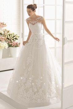 Modest Tulle Bateau Neckline A-line Wedding Dress With Lace Appliques & Belt