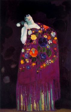 Hermenegildo Anglada Camarasa  - Granadina (Woman of Granada), c.1914, oil on canvas.   Hermenegildo Anglada Camarasa was a Spanish painter. Born in Barcelona, he studied there and then moved to Paris where he adopted a more personal style, after that of Degas and Toulouse-Lautrec. But his work was also marked by the intense colors which presaged the arrival of Fauvism. Allied with the Vienna Secession movement, his decorative style, a...