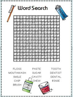 Dental Care Word Search! Fun for the kids! www.dochowie
