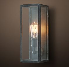 Union Filament Clear Glass Short Sconce - Weathered Zinc