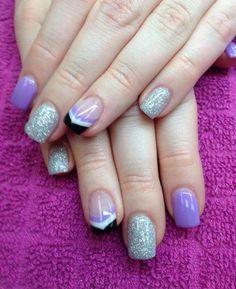Purple, silver sparkles, black white purple chevron gel nails!  Nail Innovationz!!