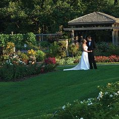 """Cantigny Park, Wheaton IL. Garden weddings. Choose to exchange your vows on the patio at the Red Oak Room with a cascading fountain and scenic vista as your backdrop or say your """"I do's"""" in one of the four beautiful and lush gardens designated for ceremonies at Cantigny Park."""