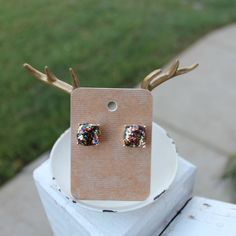 Rainbow Glitter Studs Rainbow glitter square stud earrings. Other colors available in my closet. Price firm unless bundled.  Red & Moon Jewelry Earrings