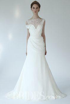Lela Rose - Fall 2014 - The Swing Silk Chiffon A-Line Wedding Dress with Lace Detail |