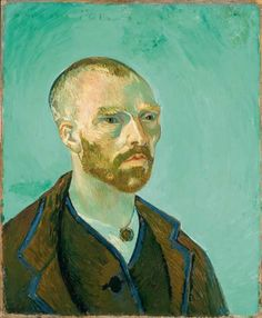 "In exchange for Gauguin's self-portrait, Van Gogh sent him this portrait of himself as a bonze- a Buddhist monk- or as he put it, ""in the japanese manner."" Arles,1888. Fogg Art Museum, Harvard University Art Museums"