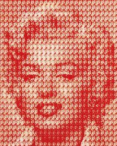 Korean artist Kim Dong-Yoo recreated Marilyn Monroe's face with 100s of miniature JFK portraits!