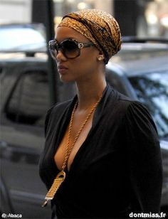 Perfectly casual. This is a good way to wear a hair wrap and still look fly