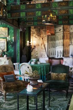 gee, leopard and green velvets....Paddle8 Editorial: Inside Tony Duquette's Dawnridge Estate
