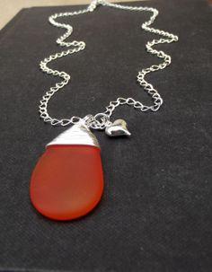 Orange Sea Glass Necklace  Fine Silver Wire Wrapped Tangerine Tango Wedding  Jewelry 0c5ebcc2fe