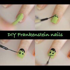Halloween nail ideas ★ DIY #Frankenstein nails  #NAILS - DIY NAIL ART DESIGNS