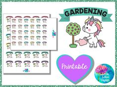 Uli Unicorn - Gardening printable planner stickers, garden, plants, garden, cute, erin condren, happy planner, kawaii, unicorn, unicorns