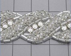 6 YARDS of Crystal Applique Trim For Wedding Gown Belt or Headband in 7 Color Choices Hand Embroidery Dress, Tambour Embroidery, Hand Embroidery Videos, Couture Embroidery, Silk Ribbon Embroidery, Bead Embroidery Tutorial, Bead Embroidery Patterns, Hand Embroidery Designs, Crochet Bedspread Pattern