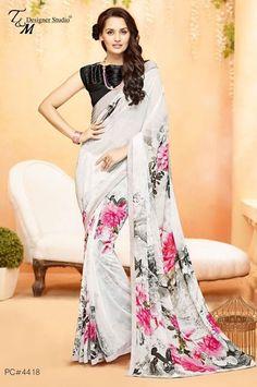 Digital Print White Georgette Casual Wear Saree