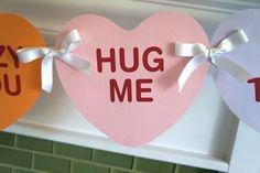 Easy DIY Valentine's Day Printable Banner Valentines Day Office, Valentines Day Bulletin Board, Valentine Banner, Valentines Gifts For Boyfriend, Love Valentines, Valentinstag Party, Valentines Day Decorations, Valentine Day Crafts, Valentine Ideas