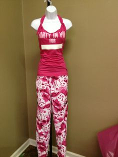 Zumba Pink White Marvelous Cargo Pants XL with I Party in Pink Halter | eBay