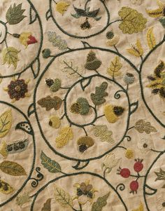 Lady's jacket, detail. Linen embroidered with silk, silver and silver-gilt thread. The ribbon fastenings are modern reproductions. England, 1620-40.