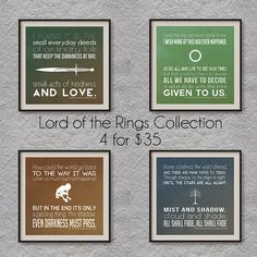 Lord of the Rings Collection on Etsy, $35.00. If my brother ever got his own house I'd get him these