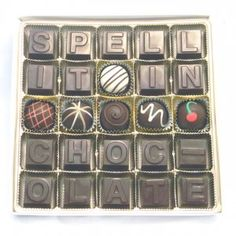 We have had several people make requests to spell-out unique messages in chocolate, so we commissioned a custom set of molds that allow people to spell their message in a 25 characters or less.  See It: Online http://ow.ly/drPEP  #lactosefree #glutenfree