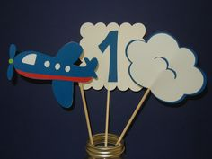 airplane party | Airplane Party Centerpieces, Airplane Theme, 1st Birthday, 9 Pieces ...