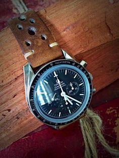 """Omega Speedmaster Pro Moonwatch. Leather """"rallye"""" style band."""