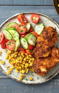 Crispy Chicken with Brown-Butter Corn and Cucumber Tomato Salad | HelloFresh Recipe