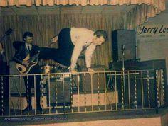 An acrobatic Jerry Lee Lewis at the Diamond Club in Dayton, Ohio, December 18, 1966.  Many Thanks to Diamond Club Dayton & Mattias Eklundh!