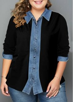 Plus Size Button Up Turndown Collar Shirt Umgestaltete Shirts, Collar Shirts, Button Up Shirts, Plus Size Shirts, Plus Size Tops, Sewing Clothes, Diy Clothes, Diy Vetement, Mode Jeans
