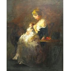 """Charalampos Potamianos (1906 - 1958).  """"Maternity"""", 1953.  Oil on canvas. Signed top left.  Dimensions: 80x100 cm"""