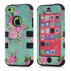 (Surprised) Peony Flower Hard Cover for iPhone (Three Month Warranty) (Gift for Screen Protector Film and Clean Cloth) Durable Hybrid Armor Case Hybrid High Impact Hard Hot Pink Floral in Mint Green Pattern Silicone Armor Case Cover for iPhone D Iphone 5c Pink, Iphone 5c Cases, Apple Iphone, Cheap Iphones, Cell Phone Covers, Green Pattern, Protective Cases, Screen Protector, Hot Pink