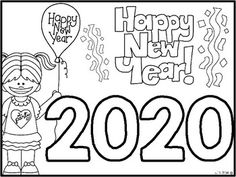 {FREEBIE} Happy New Year Coloring Sheet Happy New Year! I hope this little freebie helps you while preparing to go back to school in the New Year! More New Year goodies.Happy New Year {Craftivities, ELA & Math Centers and Printables Too! Happy New Year 2019, New Year 2020, New Year's Eve Crafts, New Year Printables, New Year's Eve Activities, Kids New Years Eve, New Year Coloring Pages, New Year Art, New Year New You