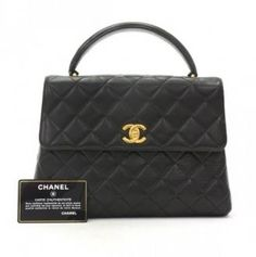 Chanel Black Quilted Leather Handbag Gold CC Ca618