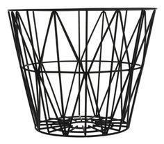 Wire Basket Medium made by ferm Living, the versatile storage basket and bin, now available in the interior design shop! Black Wire Basket, Moderne Couch, Design Tisch, Iron Wire, Large Baskets, Modern Baskets, Basket Decoration, Danish Design, Modern Design