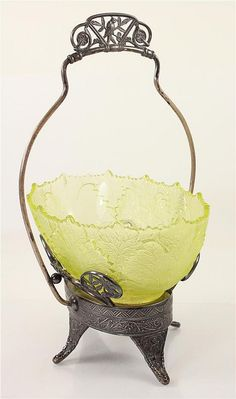 BRIDE'S BASKET WITH SILVERPLATE FRAME AND VASELINE BOWL, 14'H