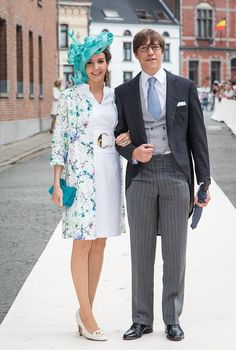 Princess Tessy and Prince Louis of Luxembourg attends the wedding ceremony of Princess Alix of Ligne and Count Guillaume de Dampierre, in St. Peter's church in Beloeil, Belgium, on June 18, 2016
