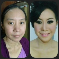 Beauty make up, before and after.