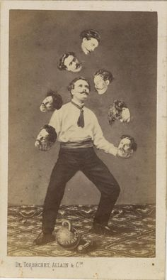 "How people Photoshopped before Photoshop c. 1880 ""Man juggling his own head,"" unidentified French artist Image: Collection of Christophe Goeury / ""Faking It: Manipulated Photography Before Photoshop"" at The Metropolitan Museum of Art Photomontage, Circus Vintage, Photoshop World, Photoshop Actions, Photographie Portrait Inspiration, Weird Vintage, Images Vintage, Fake Photo, Daguerreotype"