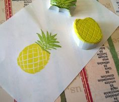 Items similar to Pineapple Rubber Stamp, Two Part Set on Etsy Handmade Stamps, Handmade Gifts, Vegetable Crafts, Stamp Printing, Pineapple, Plastic Cutting Board, Stencils, Berries, Diy Crafts