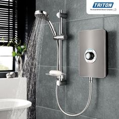 Triton Aspirante Gun Metal Electric image for illustration purpose only kw Shower Over Bath, Large Shower, Best Handheld Shower Head, Electric Showers, Star Choice, Triton Showers, Power Shower, Extension