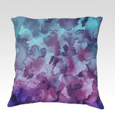 COLOR ME FLORAL 5 Ombre Turquoise Aqua Blue Purple Watercolor Painting Fine Art Decorative Throw Pillow Cushion Cover by EbiEmporium, #ombre #turquoise #blue #aqua #purple #floral #flowers #watercolor #art #fineart #decor #homedecor #bedroom #bedding #livingroom #chic #colorful #abstract #painting #throwpillow #pillow #cushion #throwcushion #decorative #design #modern #chic #dorm #teendecor #EbiEmporium